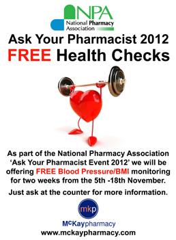 FREE HEALTH CHECKS IN NOVEMBER